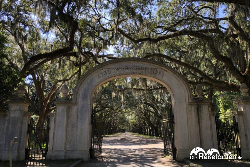 Eingangstor zur Wormsloe Plantation in Savannah