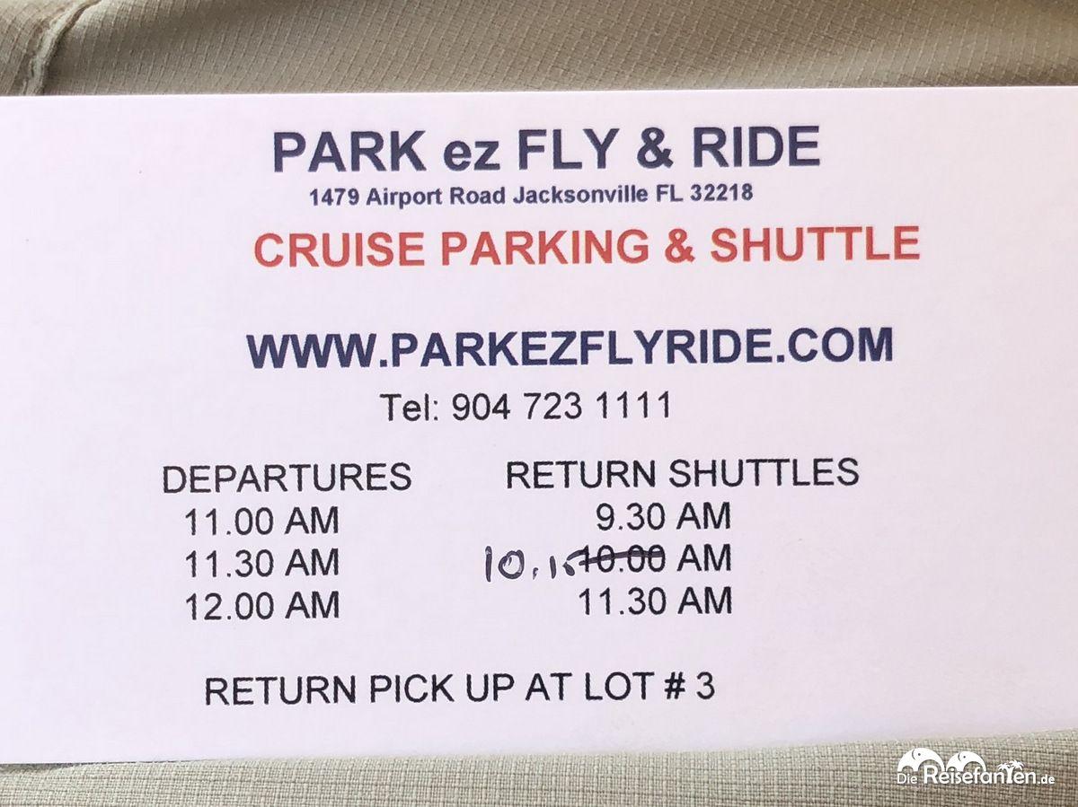 Shuttlezeiten des Park EZ Fly in Jacksonville