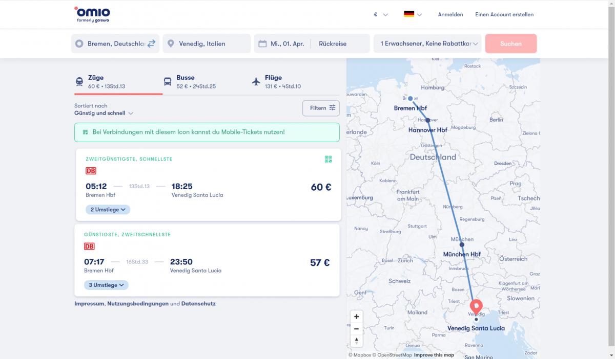Beispielhafte Routenplanung von Bremen nach Venedig mit Omio
