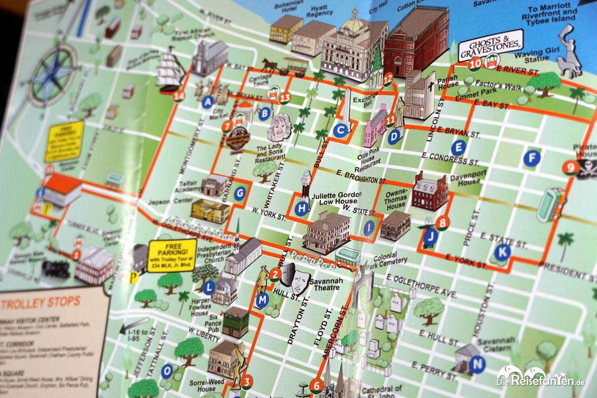 Routenplan der Savannah Trolley Tour