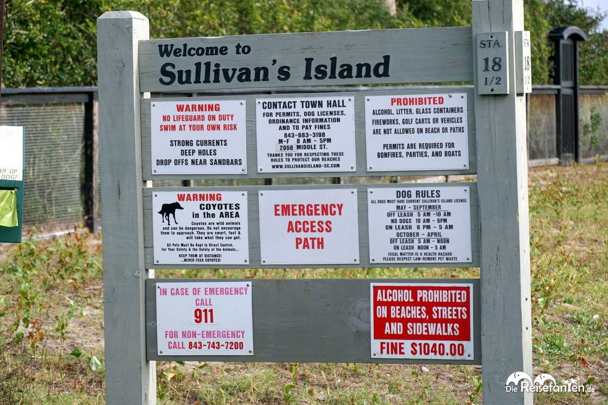 Hinweisschild auf Sullivan's Island