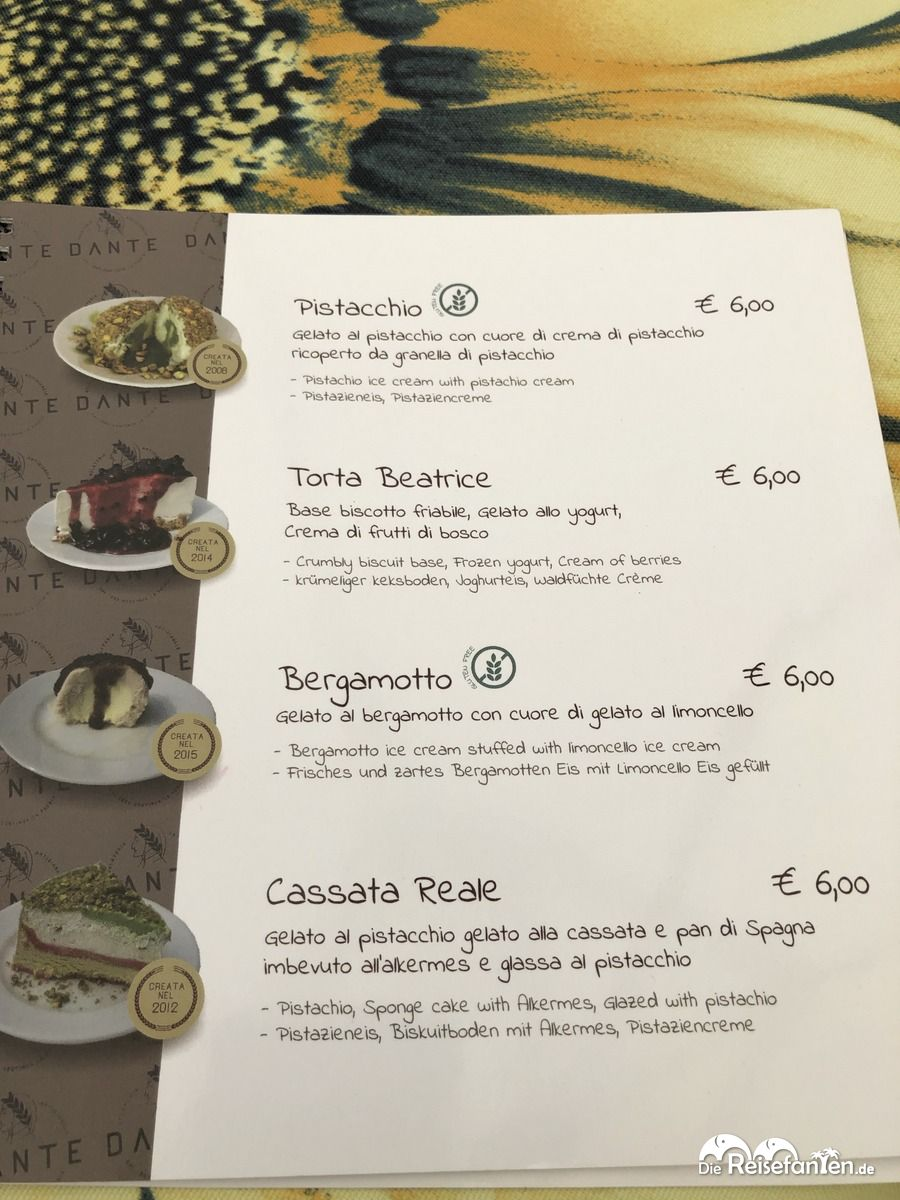 Eiskarte der Gelateria Dante in Pizzo