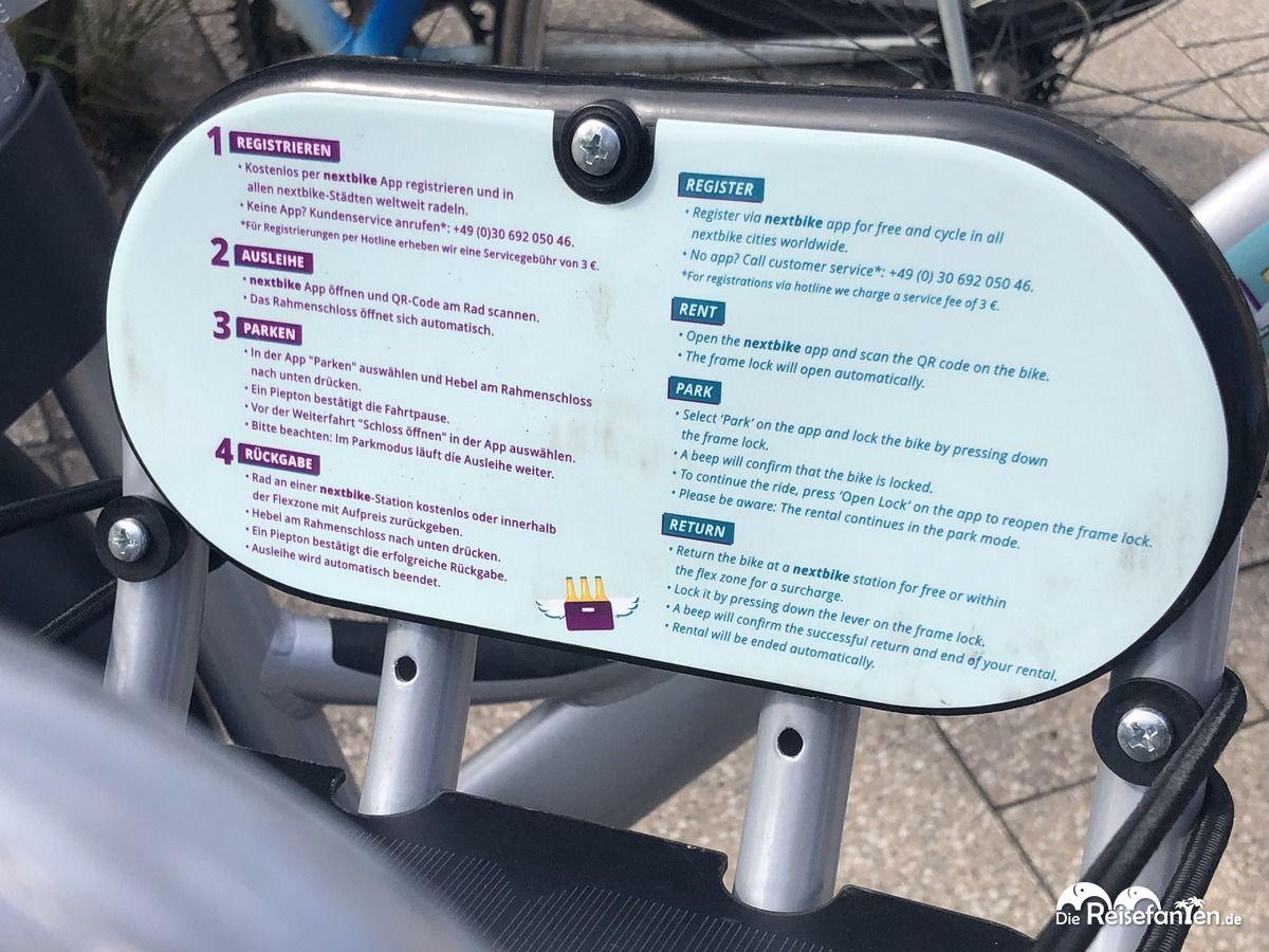 Anleitung zur Mietung eines Nextbike in Leipzig