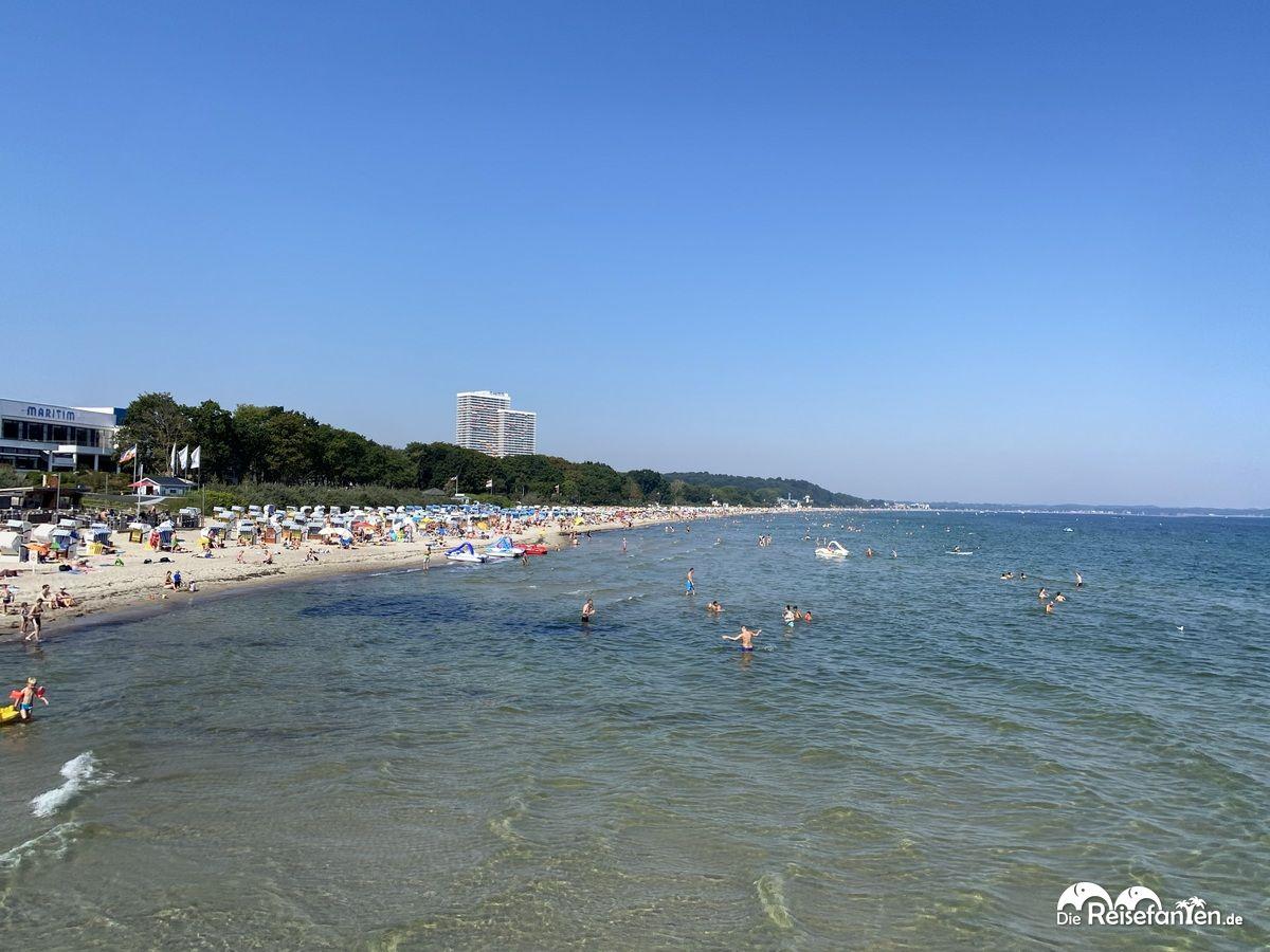 Blick auf den Strand von Timmendorf