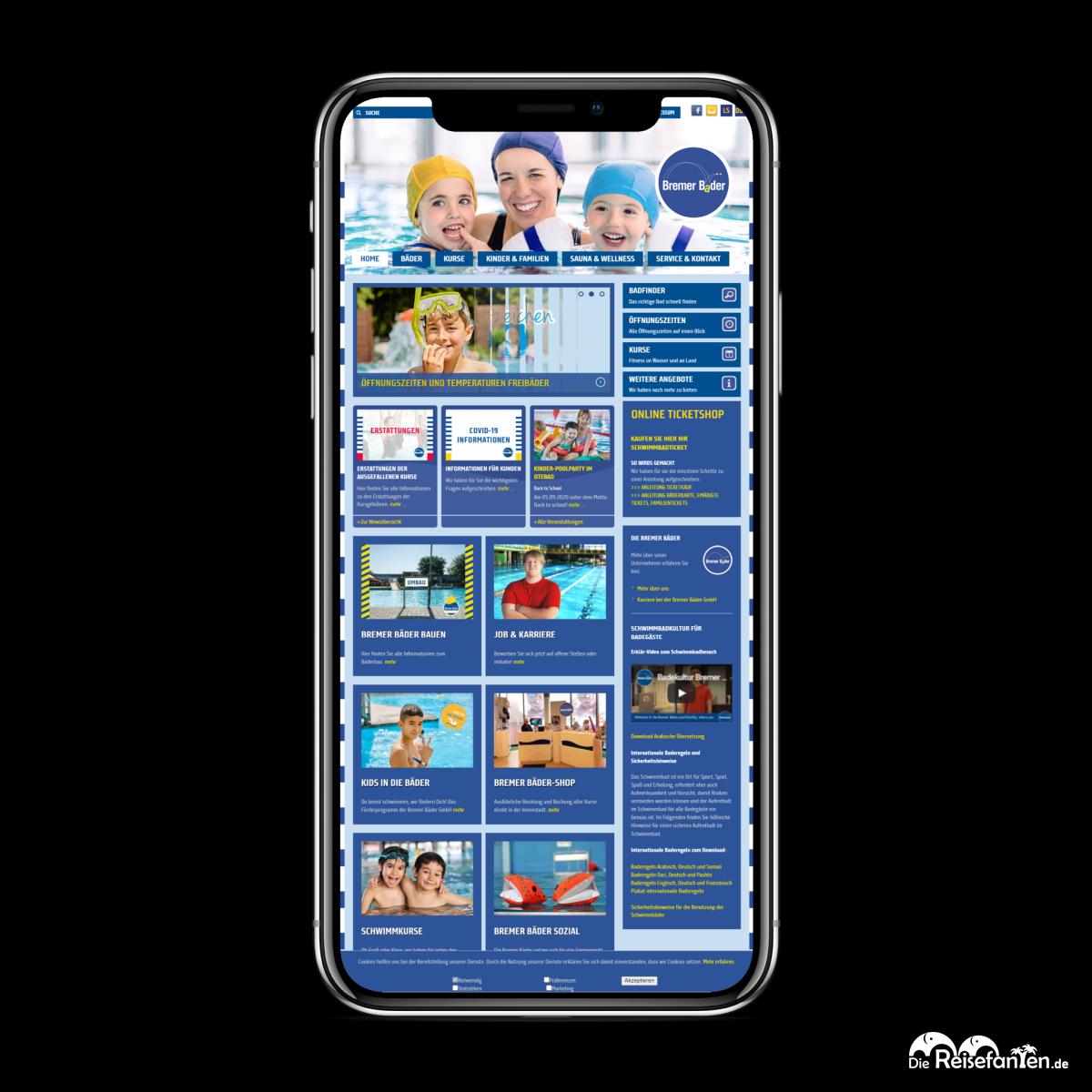 Die Website der Bremer Bäder auf dem iPhone