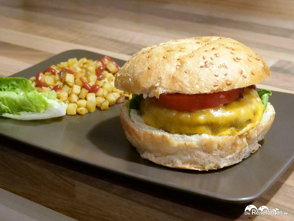 Der fertige Burger mit Fleisch und Brötchen von MyLocalMeat