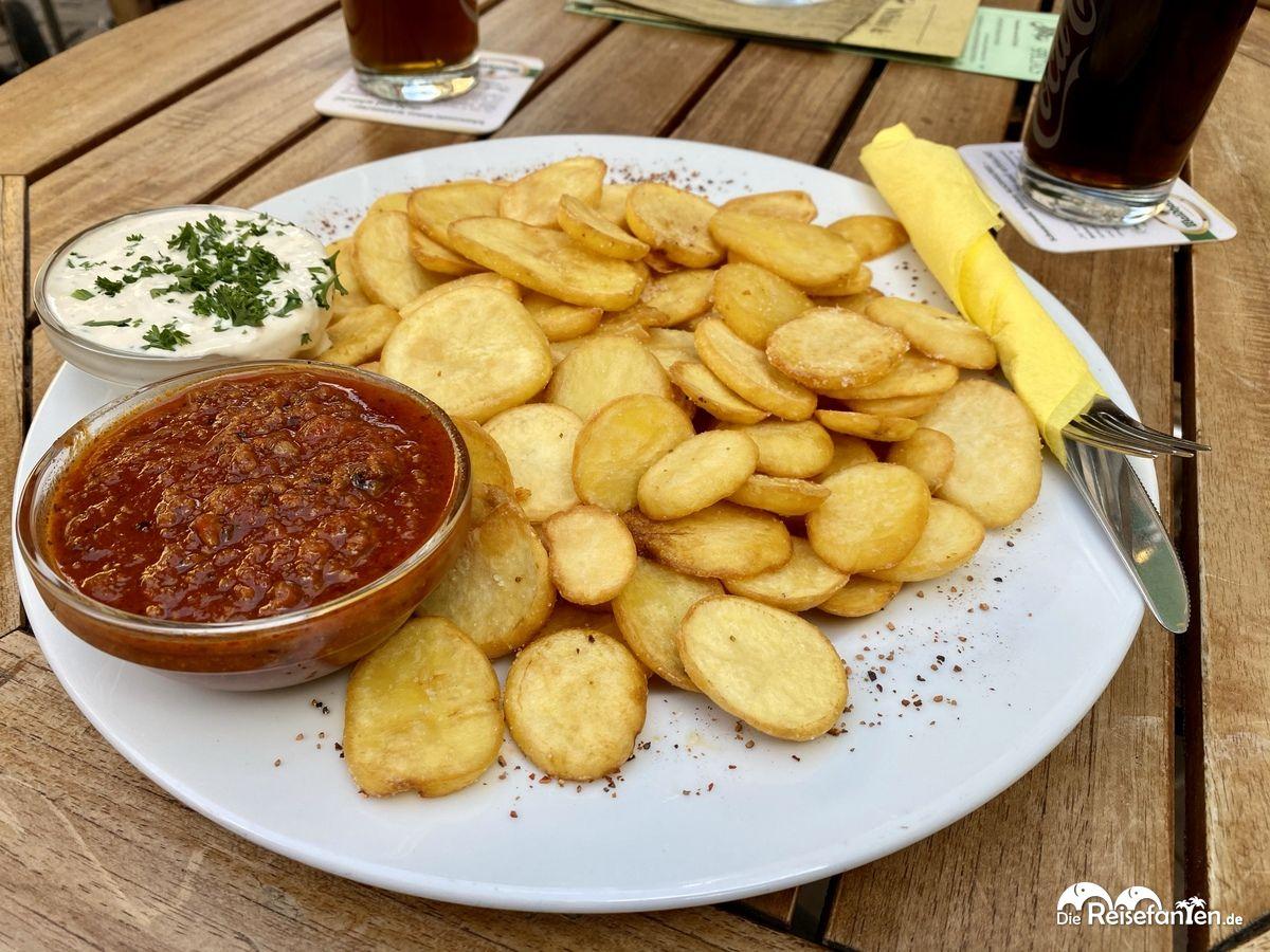 Die Portion Potatoe Schlappen reicht locker für Zwei