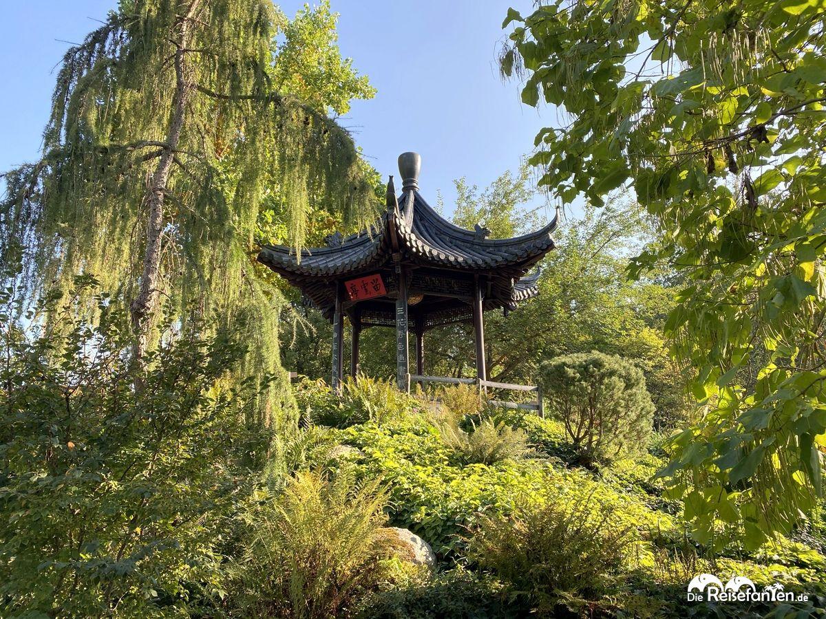 Ein Pavillon nahe des Chinesischen Teehauses im Luisenpark Mannheim