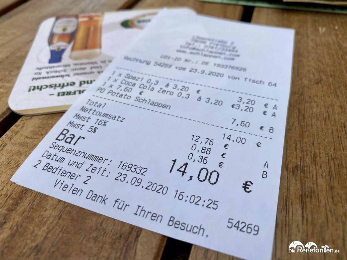 Rechnung zum Snack im Schlappen in Freiburg