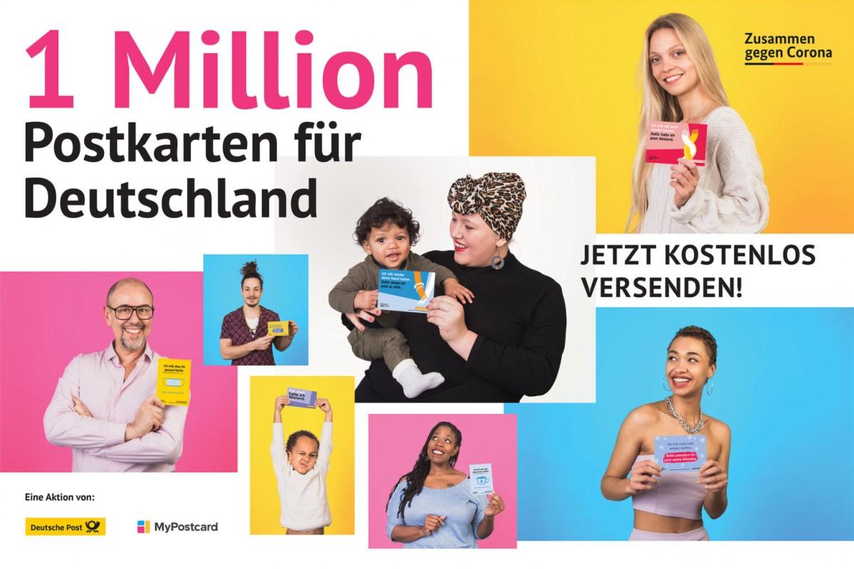 Pressebild der Kampagne 1 Million Postkarten gegen Corona