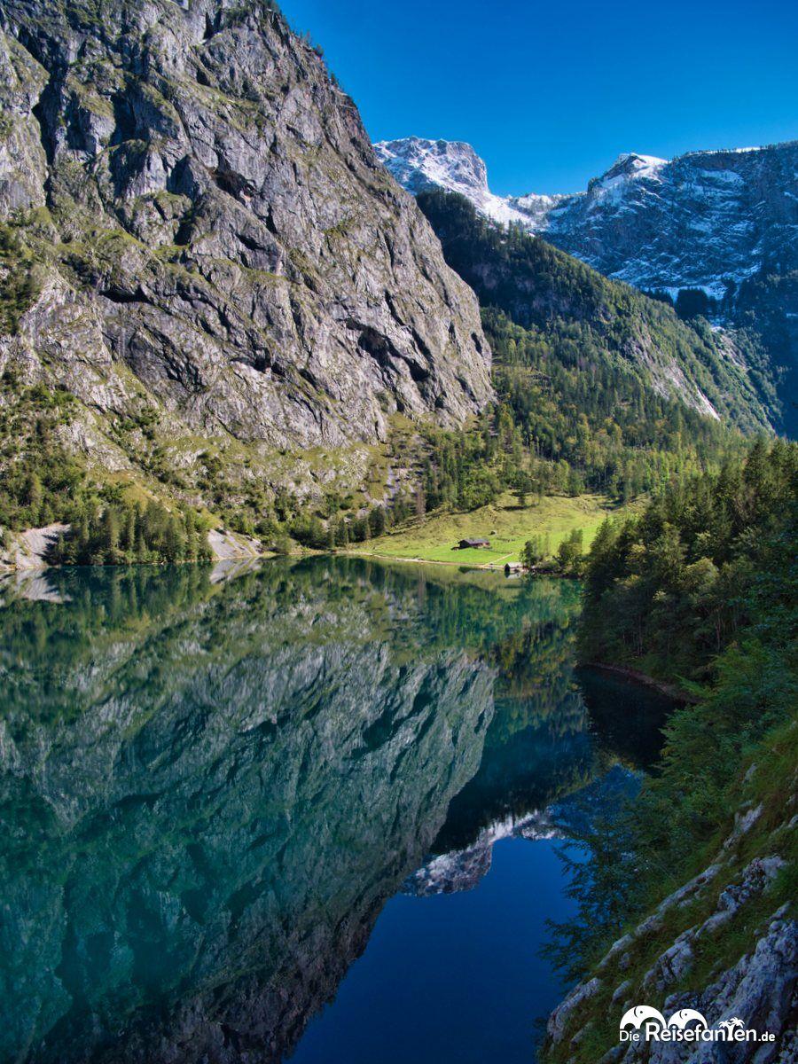 Spiegelpanorama mit Fischunkelalm am Obersee