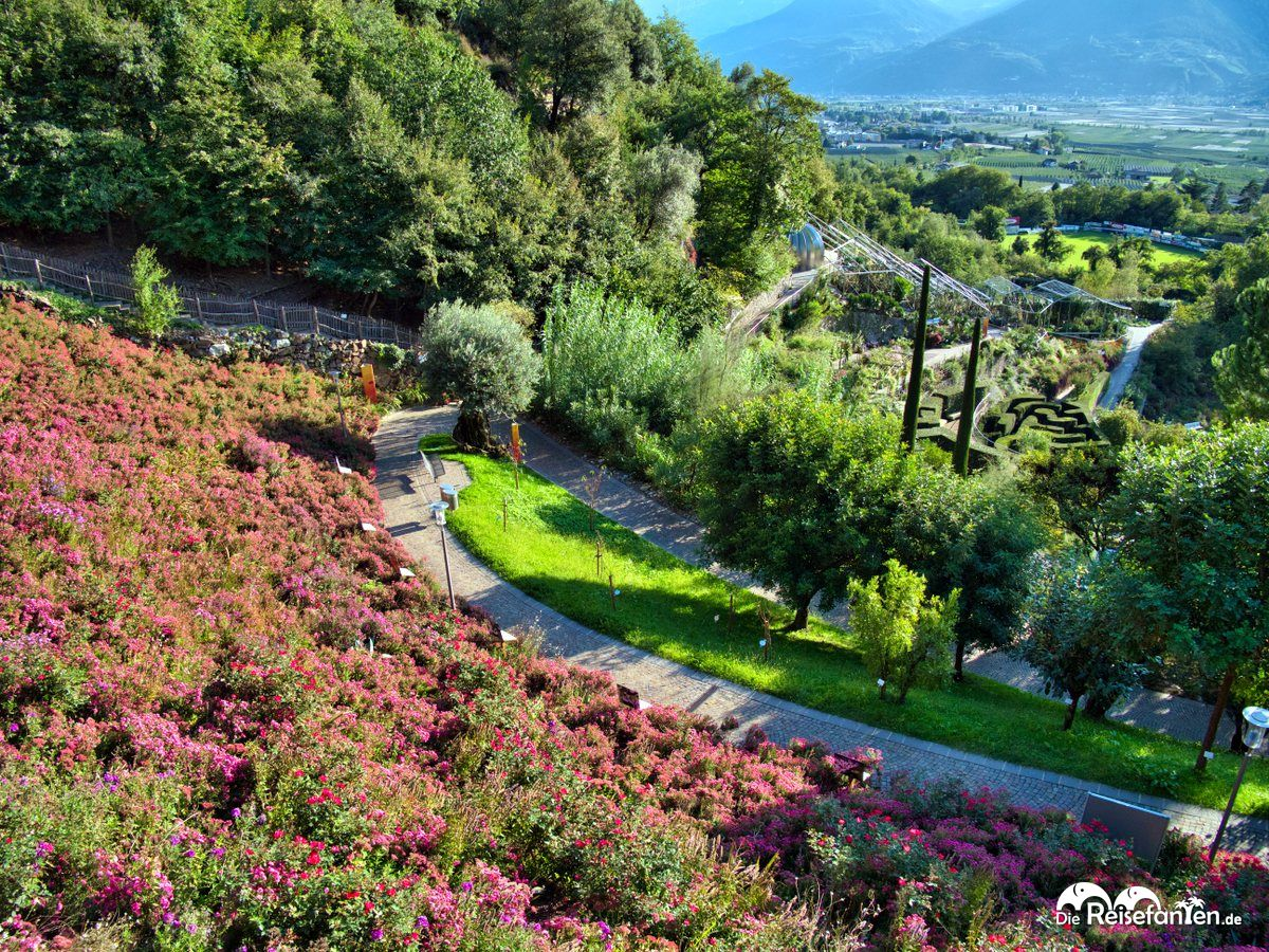 Schön angelegte Wege in den Gärten von Schloss Trauttmansdorf