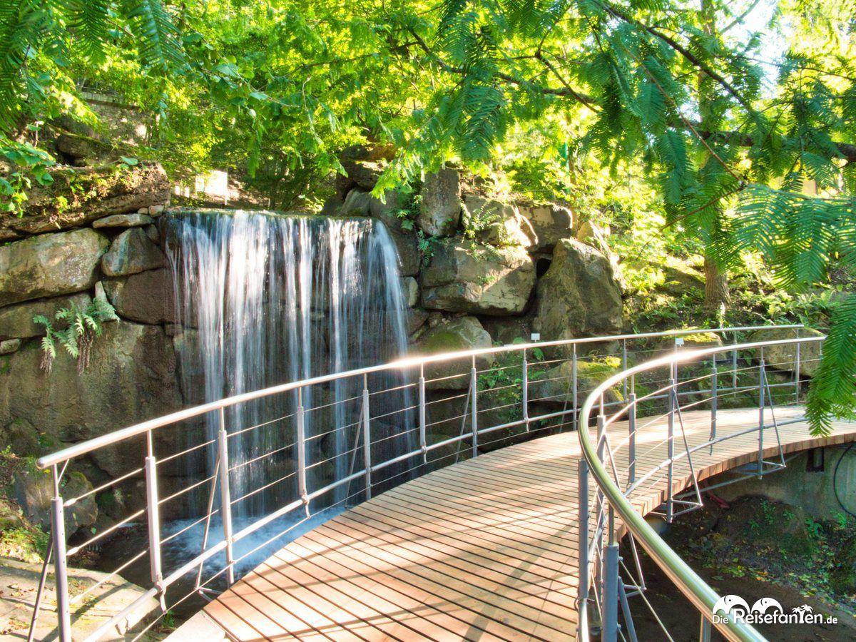 Wasserfall in den Gärten von Schloss Trauttmansdorf