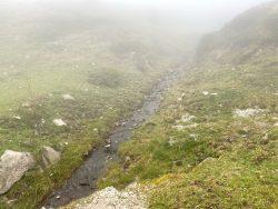 Kleiner Wasserlauf im Nebel auf der Seiser Alm in Südtirol