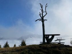 Nebelblick von der Seiser Alm in Südtirol