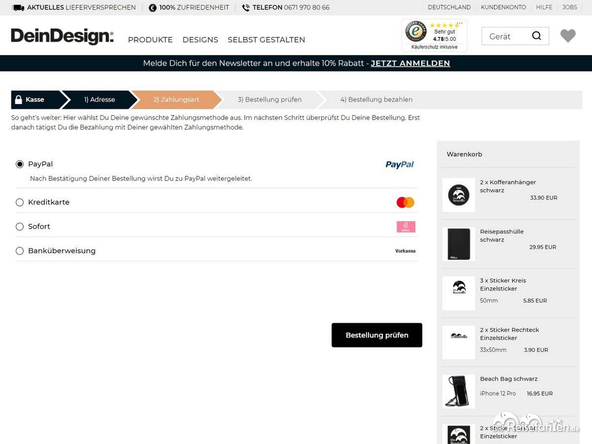 Unser Warenkorb von DeinDesign