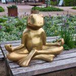 Ein meditierender Frosch im Park der Gärten