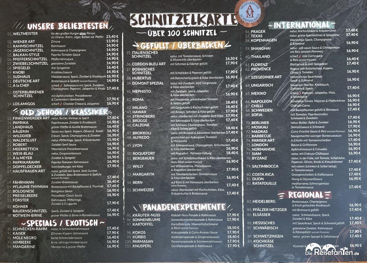 Die Vorderseite der Speisekarte der Alten Münz in Heidelberg