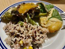 Reis und Grillgemüse gab es zur Hähnchenbrust Mojito aus dem Restaurant Baron in Eisenach