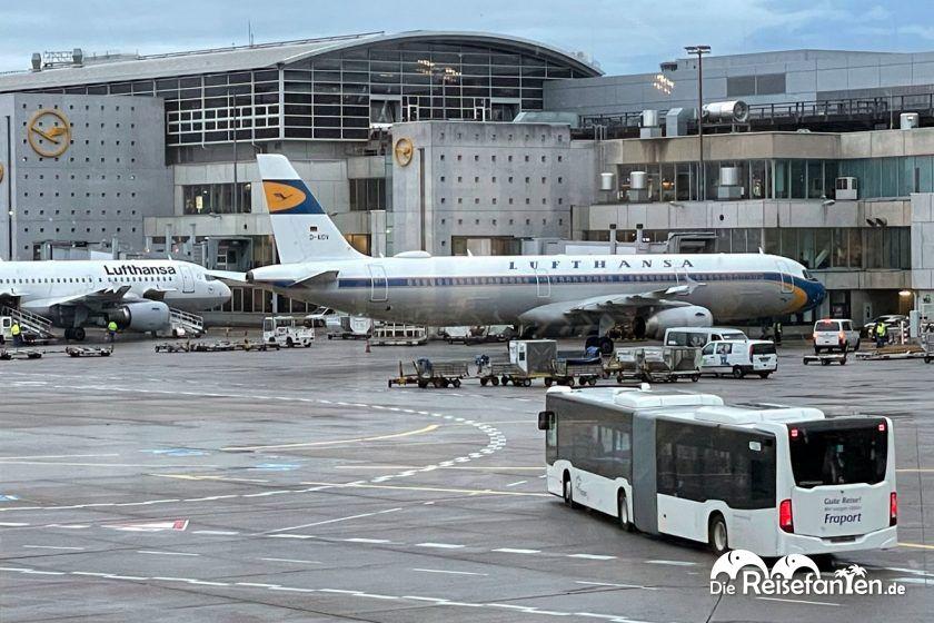 Eine Maschine der Lufthansa am Flughafen Frankfurt