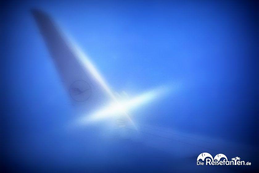 Logo am Flügel einer Lufthansa Maschine