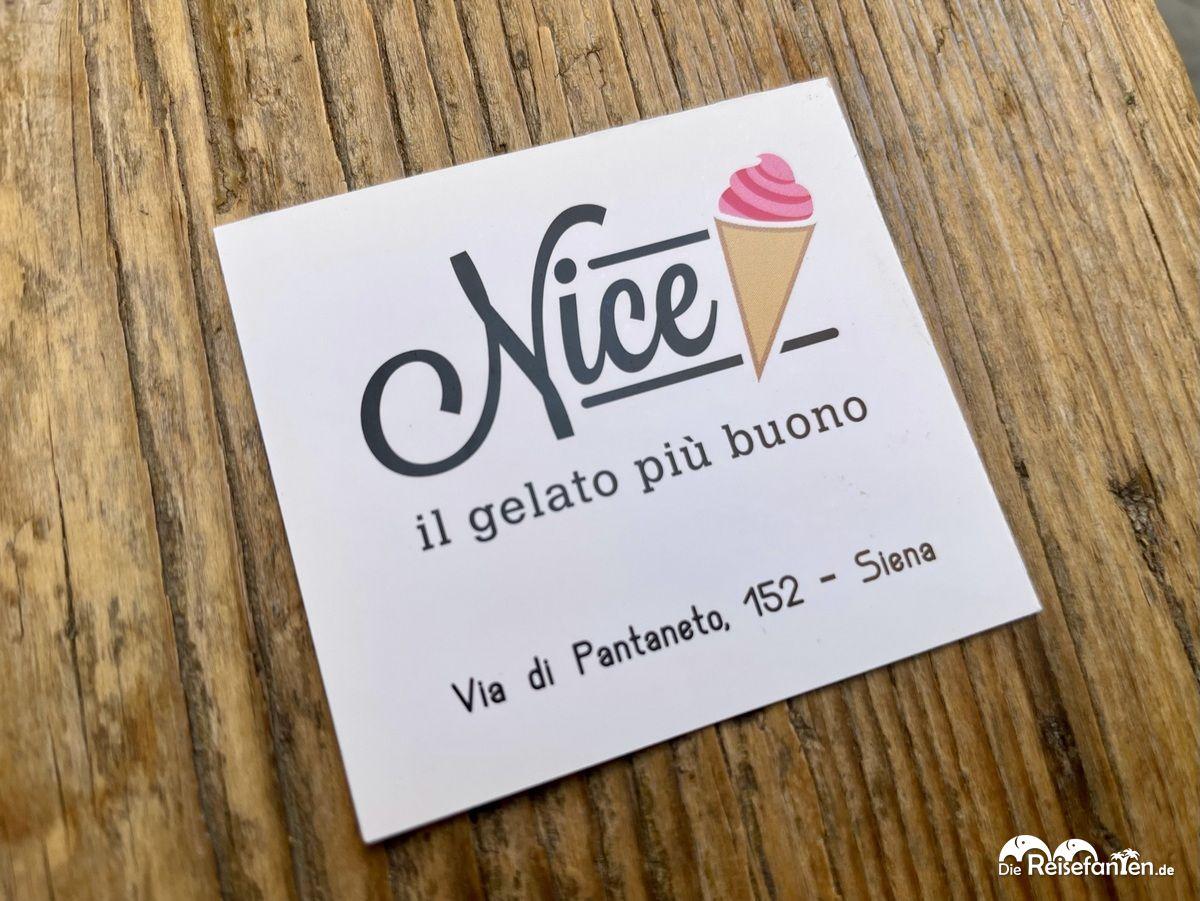 Visitenkarte der Gelateria Nice in Siena 1