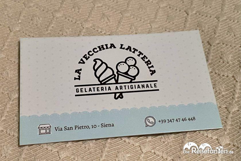 Visitenkarte von La Vecchia Latteria in Siena